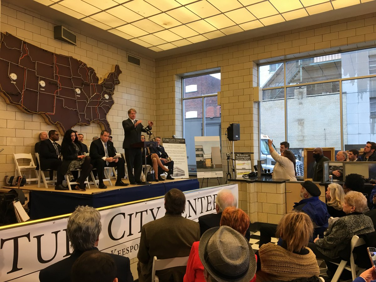 Thrilled to celebrate the opening of the Tube City Center in front of a packed house at the former Daily News Building. The project is a tremendous investment in McKeesport's downtown and the Mon Valley as well as another example of what can be accomplished when we work together. <br>http://pic.twitter.com/nnIi5RgCUW