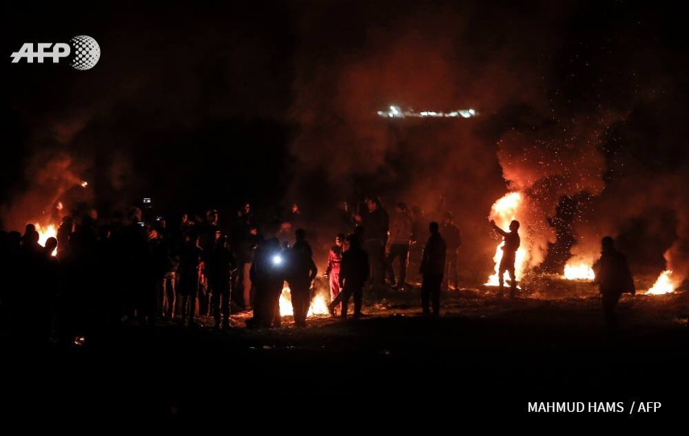 Pictures of the night protest activities east of Gaza City