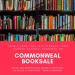 Image for the Tweet beginning: Commonweal booksale TOMORROW!  12pm - 2.30pm