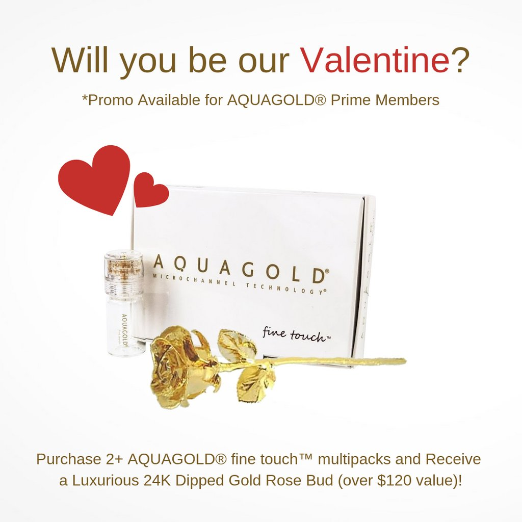 This Valentine's Day 💝 AQUAGOLD® Prime Members enjoy special perks!  Buy 2+ AQUAGOLD® Multipacks receive your choice of either:  A Full SKINWORKOUT™ serums OR A 24kt Dipped Gold Rose Bud   ⏱: 02.14.2019  *Terms & Conditions apply.  #aquagoldfinetouch #microchanneling