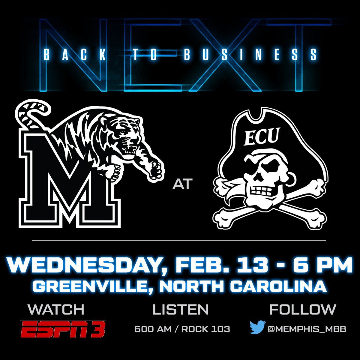 Memphis Tigers NCAA Basketball: Busy week on the road. The business trip begins Wednesday at ECU.  Tip is at 6 PM on ES...