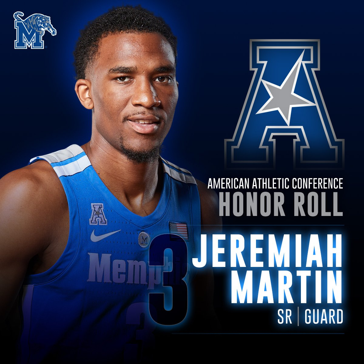 Memphis Tigers NCAA Basketball: Congrats to Jeremiah Martin, who was named to this week's #AmericanHoops Honor Roll!  �...