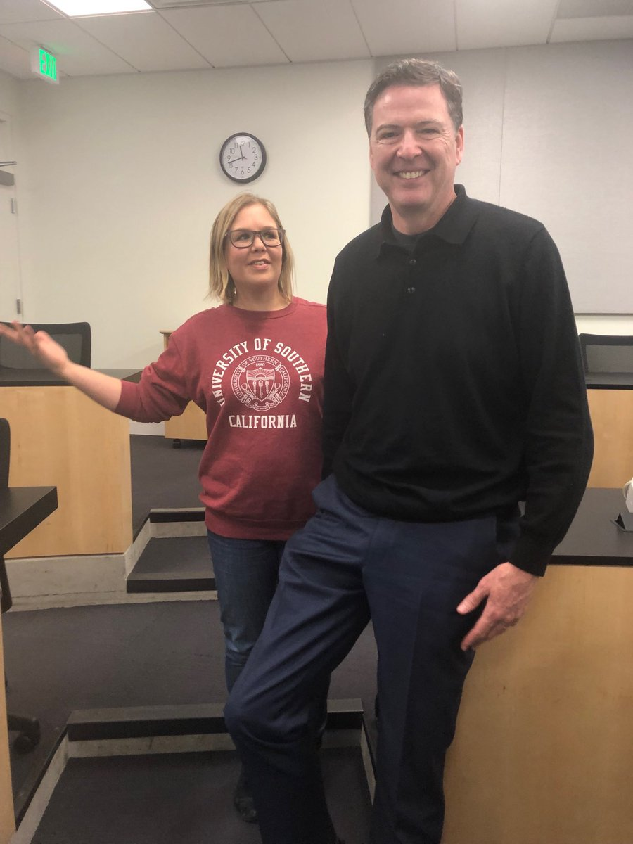"I almost didn't go to school today for fever. Glad I did. Got to chat with former FBI director James ⁦@Comey⁩. ""There's an epidemic of overclassification in the U.S."" #comey #ascj"