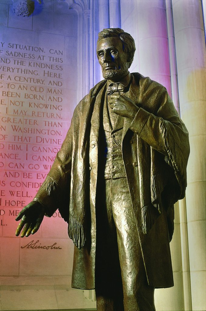 The National Cathedral in Washington features an #AbrahamLincoln statue and an inscription of his remarks saying goodbye to Springfield. Thanks to @WNCathedral for pointing this out! (Photo by Danielle Thomas, Washington National Cathedral.) <br>http://pic.twitter.com/UxN3aQnqYy
