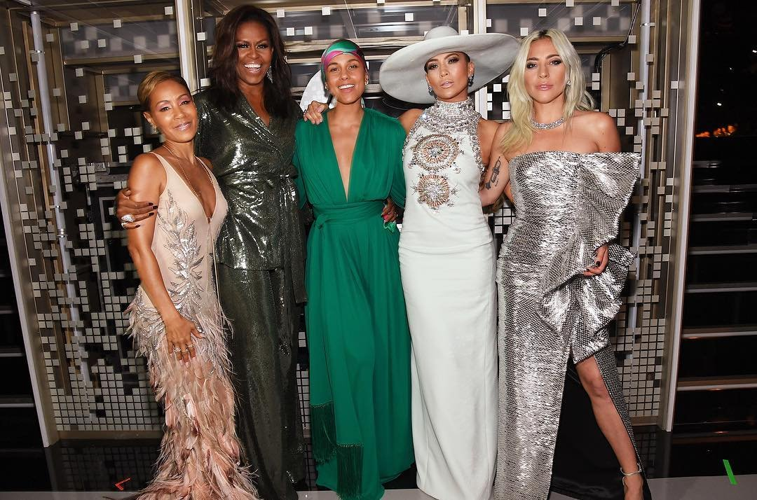 I feel ultimate gratitude and deeply supported AND LOVED by these women @jadapsmith @MichelleObama @JLo @ladygaga. The desire we all felt to share our support for each other and for everyone a part of last night was so real and so genuine. I'm OVERFLOWING! ✨❤ #aboutlastnight