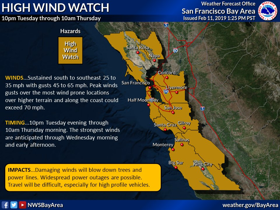 HIGH WIND WATCH AND FLASH FLOOD WATCH 10 pm Tuesday through 10 am Thursday. #CAstorm #CAwx<br>http://pic.twitter.com/RTYcXVy0yc