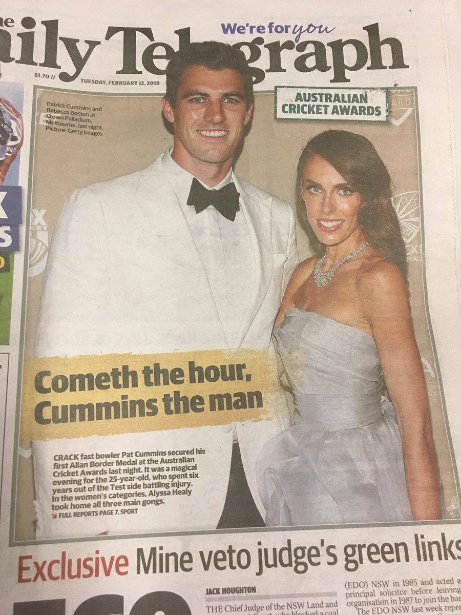 I'm sorry... but is it not a joint awards night @dailytelegraph? First sign of @ahealy77 is 10 pages in, and the main caption and heading is all about Cummins. I'm a fan of both, but these editorial decisions still paint the women's award as secondary. #AusCricketAwards <br>http://pic.twitter.com/nTz4YwW434