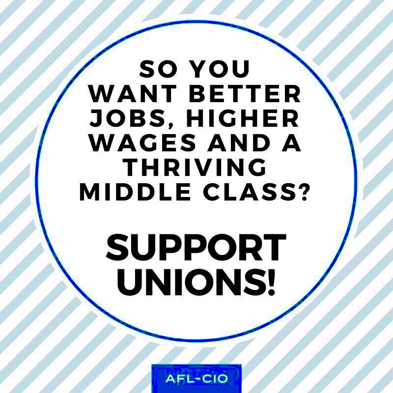 History teaches us that when unions are strong, so is the middle class. Strong unions raise standards for all workers! #UnionStrong #union #unionpower