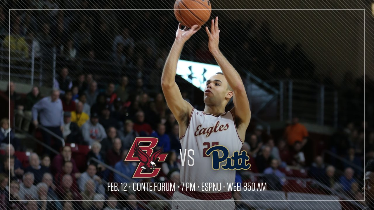 Boston College Eagles NCAA Basketball: On Tuesday night, Boston College hosts @Pitt_MBB at 7 pm at Conte Forum.  PREVIEW: http...