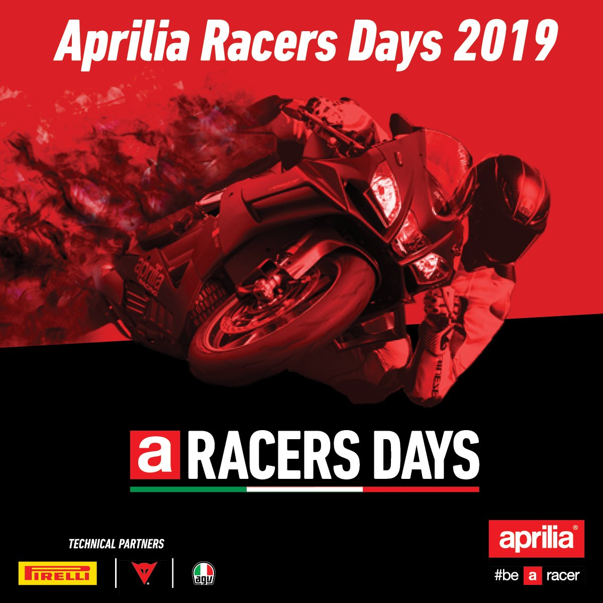 Our 2019 #ApriliaRacersDays program is now live, with each round supported by our premium industry partners; @PirelliUSA, @dainese and @AGVHelmets.   Spaces are limited so books yours today; https://t.co/N8pDcISEoo  #aprilia | #pirellination | #dainesecrew | #AGVrider https://t.co/OmOwSr037F
