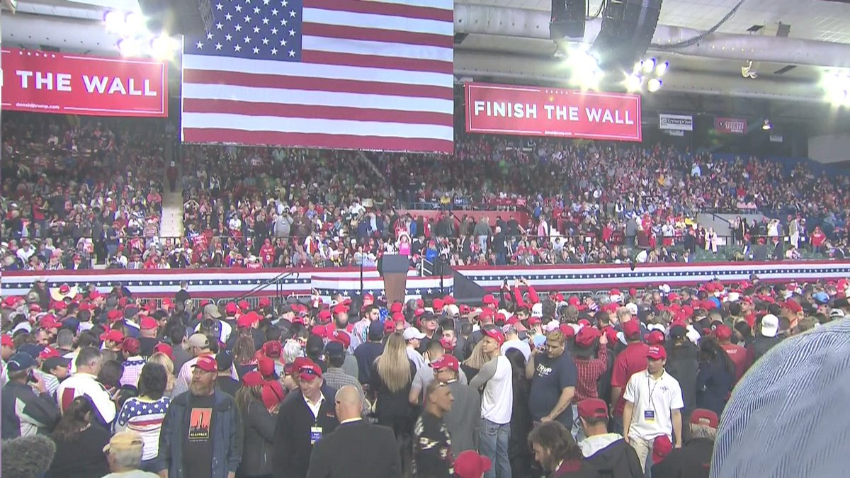 'Finish the Wall' banners adorn the Trump Campaign Rally at the El Paso County Coliseum.