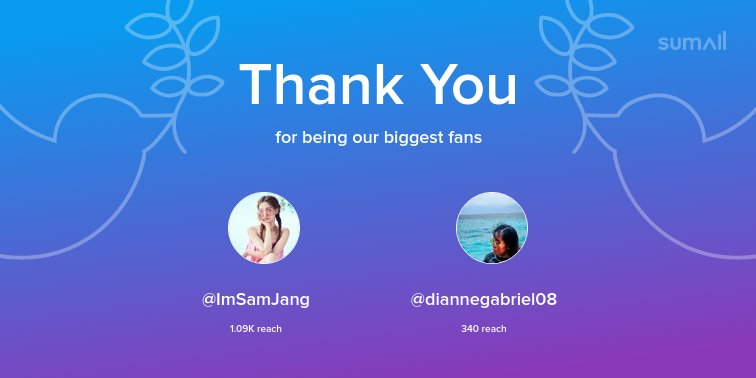 Our biggest fans this week: @ImSamJang, @diannegabriel08. Thank you! via https://sumall.com/thankyou?utm_source=twitter&utm_medium=publishing&utm_campaign=thank_you_tweet&utm_content=text_and_media&utm_term=472dc8f977d9d6c90c278277 …