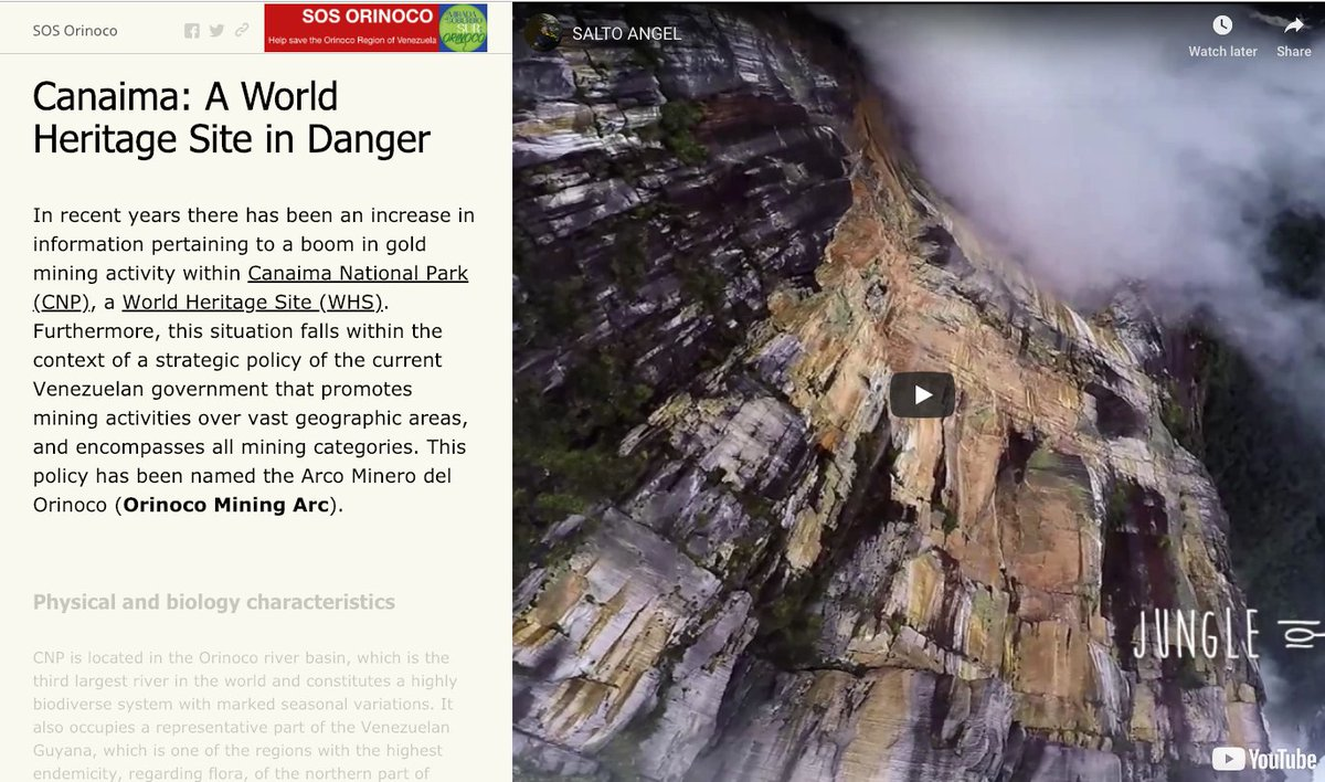 Canaima: World Heritage Site in Danger | a new interactive StoryMap where you can see how illegal mining promoted by @NicolasMaduro & his gangs is endangering the survival of #AngelFalls RT to @unescowhc @unesco @IUCN @UNEnvironment @AAzoulay #SOSOrinoco https://www.arcgis.com/apps/MapJournal/index.html?appid=5e35bfeb42b14780bb09d9fe956ce4d2…