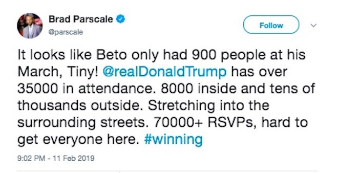 The #TrumpLies keep on coming.  Trump: 10,000 were at my rally.  Parscale: 8,000 attended.  El Paso Fire Department: Only 6,500 attended.  It's getting SAD!  Meanwhile, police estimate up to 15,000 attended Beto's  #MarchForTruth