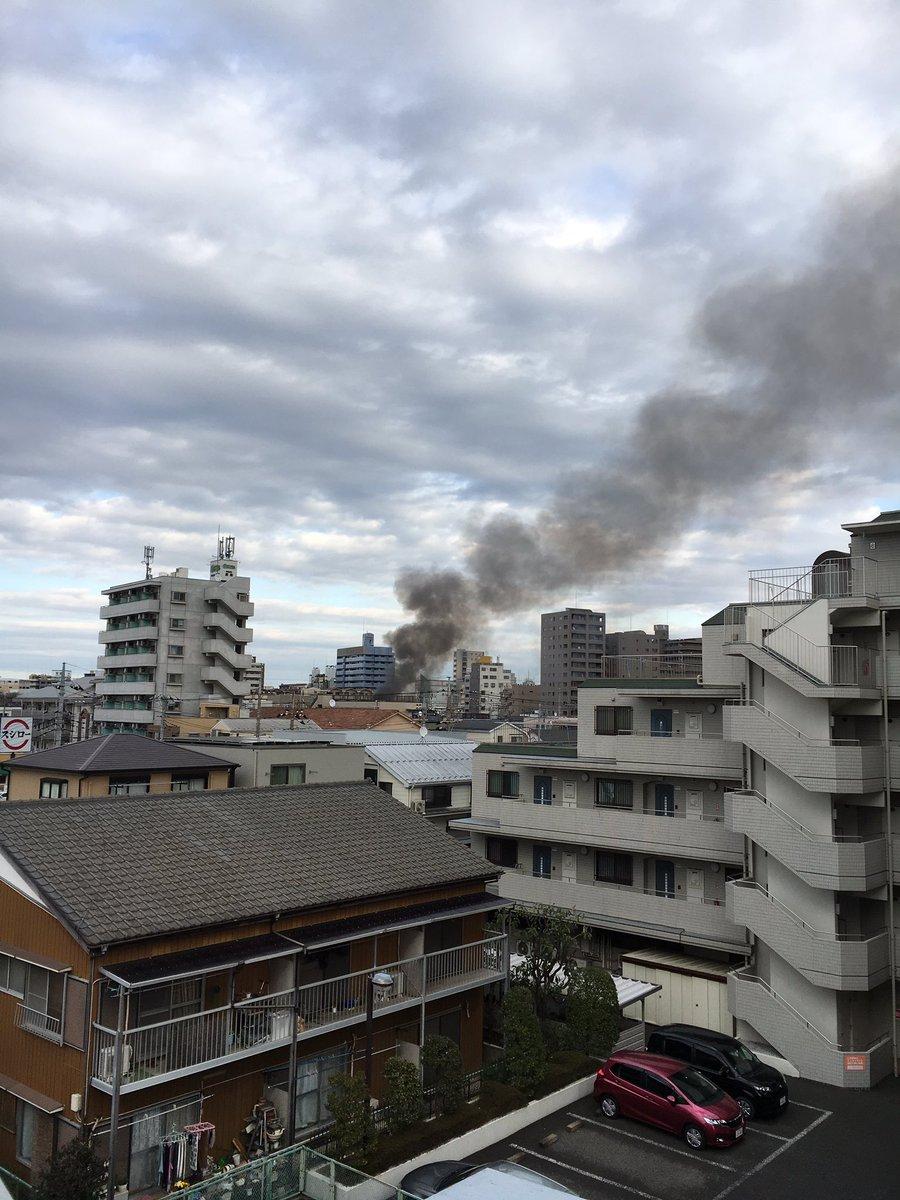 朝霞市西弁財で火事が起きている現場画像