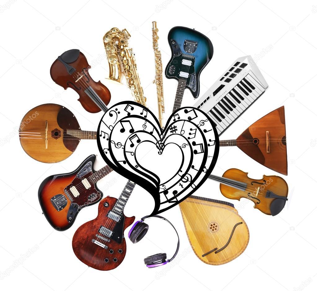 Открытки, картинки с муз инструментами коллаж