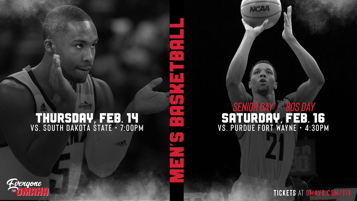 ✌️ top-3️⃣ league matchups at home? We need you at Baxter Arena, loud and proud! ⚫️🔴🏀  Purchase your seats now for Thursday's showdown with South Dakota State and Saturday's tilt with Purdue Fort Wayne!   Thursday 🎟: http://bit.ly/2GEQKy7  Saturday 🎟: http://bit.ly/2GERaEH