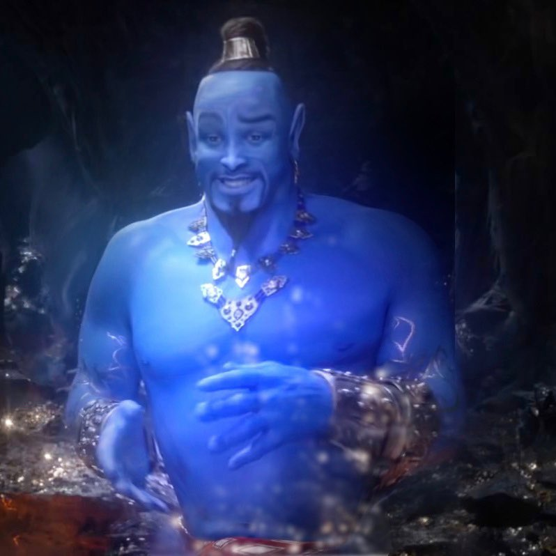 Spent a couple minutes in Photoshop and it's not perfect but I think it's a drastic improvement. RT if you agree.  #Aladdintrailer #Genie<br>http://pic.twitter.com/zXYBvY21lp