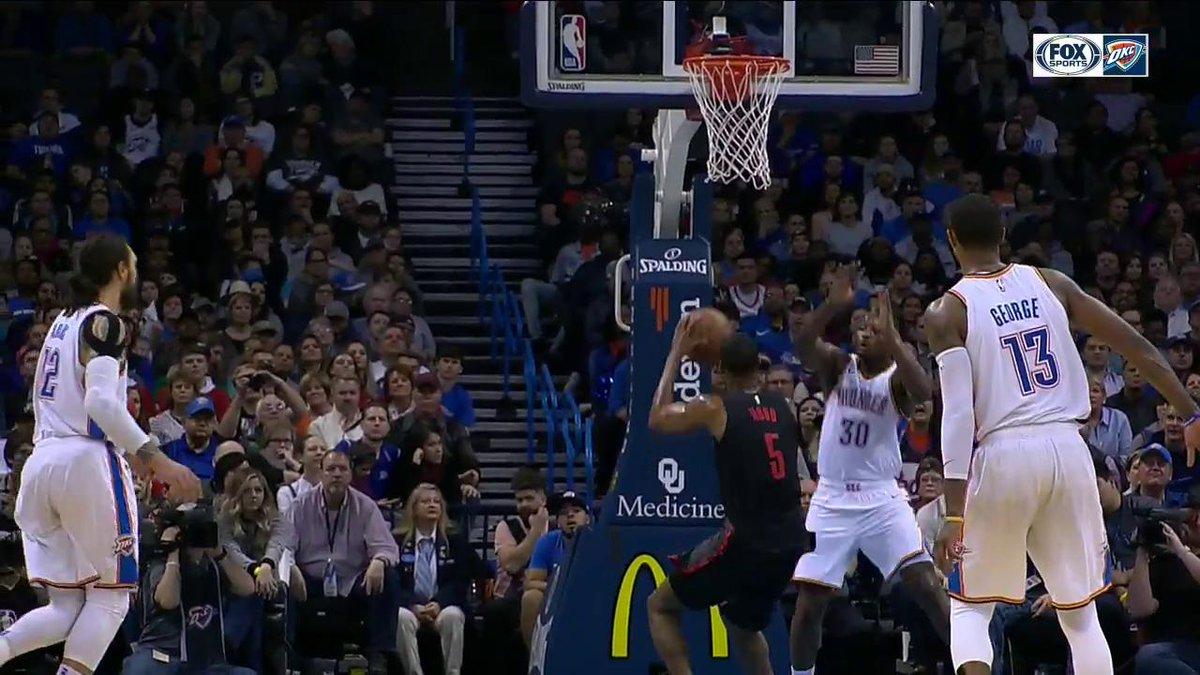 👀Burton, Westbrook, George.  Just good #ThunderBasketball