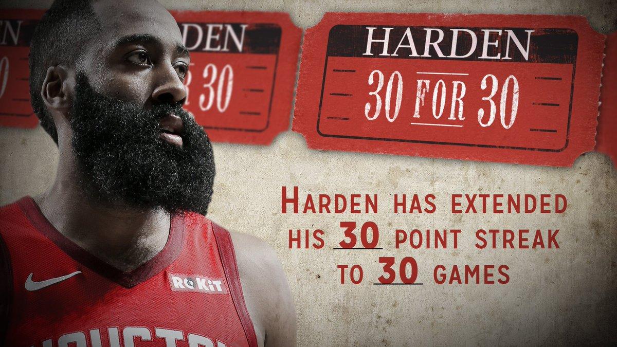 30 STRAIGHT FOR @JHarden13!
