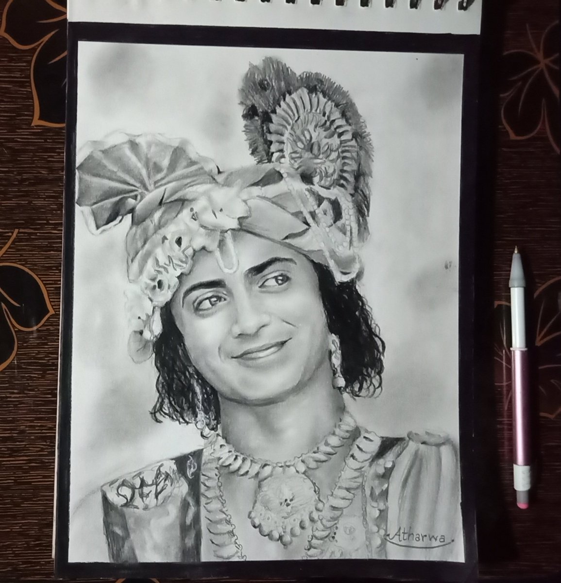 Pencil portrait of 'Krishna' @Beatking_Sumedh  How is it? #sumedhmudgalkar #Krishna #portrait #Artist #art #RadhaKrishn