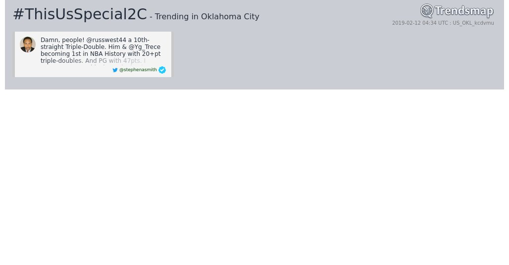 #thisusspecial2c is now trending in #OklahomaCity  https://www.trendsmap.com/r/US_OKL_kcdvmu