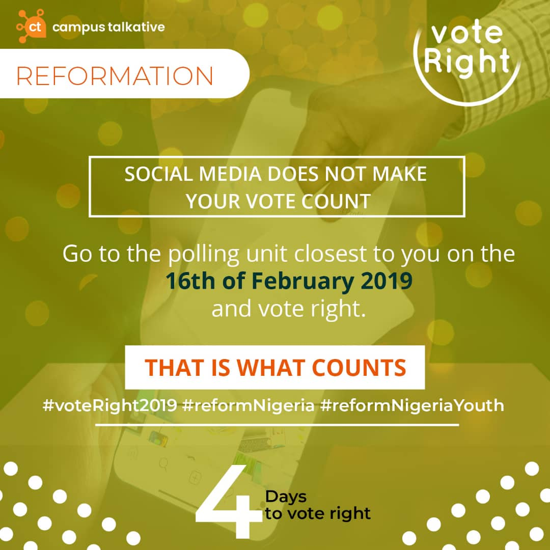Just 4 days left to the general elections. No use your hand buy wahala for yourself. Your vote na your power, Your vote na your right. #voteRight2019 <br>http://pic.twitter.com/C6HM35LpWJ