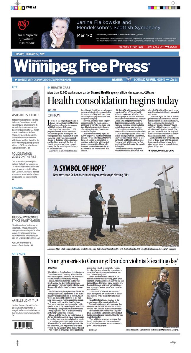 Health consolidation begins today on the front page of Tuesday's @WinnipegNews #WFP