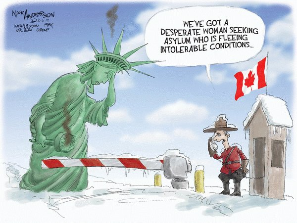 It's been a while since I've seen a good enough cartoon to tweet, but this one made me laugh. To my Canadian friends. please don't close the door.