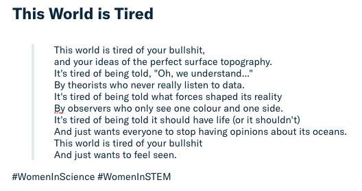 This world is tired of your bullshit.  #WomenInScience #WomeninSTEM   https://t.co/CBr7vnVFpf
