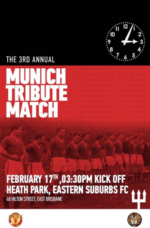 This Sunday, all reds in #Brisbane get down and cheer us on as we pay our respects to the Busby Babes #MUFC #BusbyBabes #MunichAirDisaster #Munich58 #BrisbaneReds
