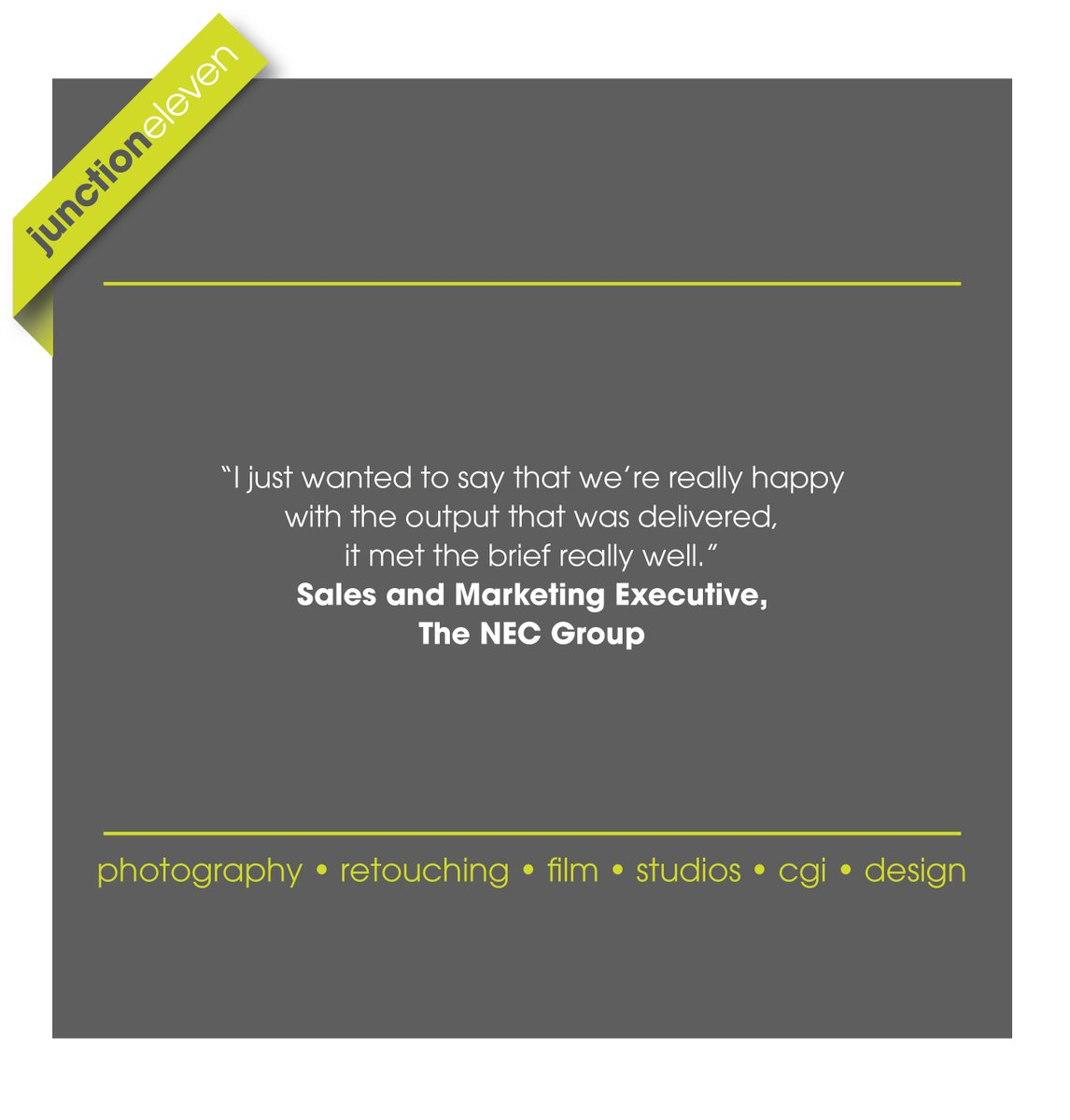 Some nice client feedback following another successful shoot for the NEC Group last month :)  #testimonialtuesday #contentcreators #locationphotography #clientfeedback #NEC #wecreate