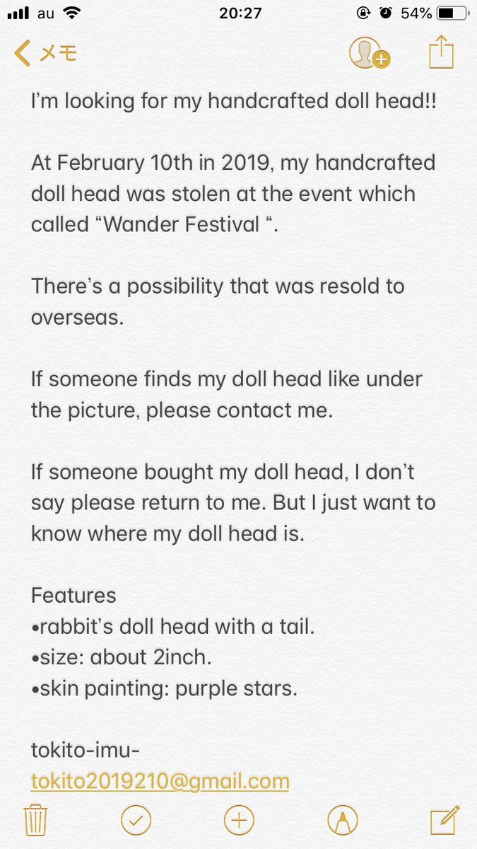 """I'm looking for my handcrafted doll head!!  At February 10th in 2019, my handcrafted doll head was stolen at the event which called """"Wander Festival """".  There's a possibility that was resold to overseas.  #wf #wf2019w <br>http://pic.twitter.com/MS4rbsQkMR"""