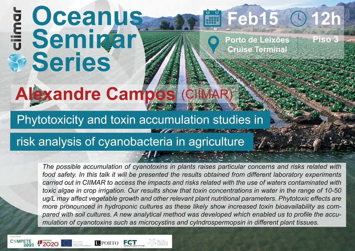 "Oceanus Seminar Series | Alexandre Campos | 15 February | 12h  ""Phytotoxicity and toxin accumulation studies in risk analysis of cyanobacteria in agriculture.""  Register to divulgacao@ciimar.up.pt More information through the link: https://www2.ciimar.up.pt/events.php?id=94 …  #CIIMARevents"