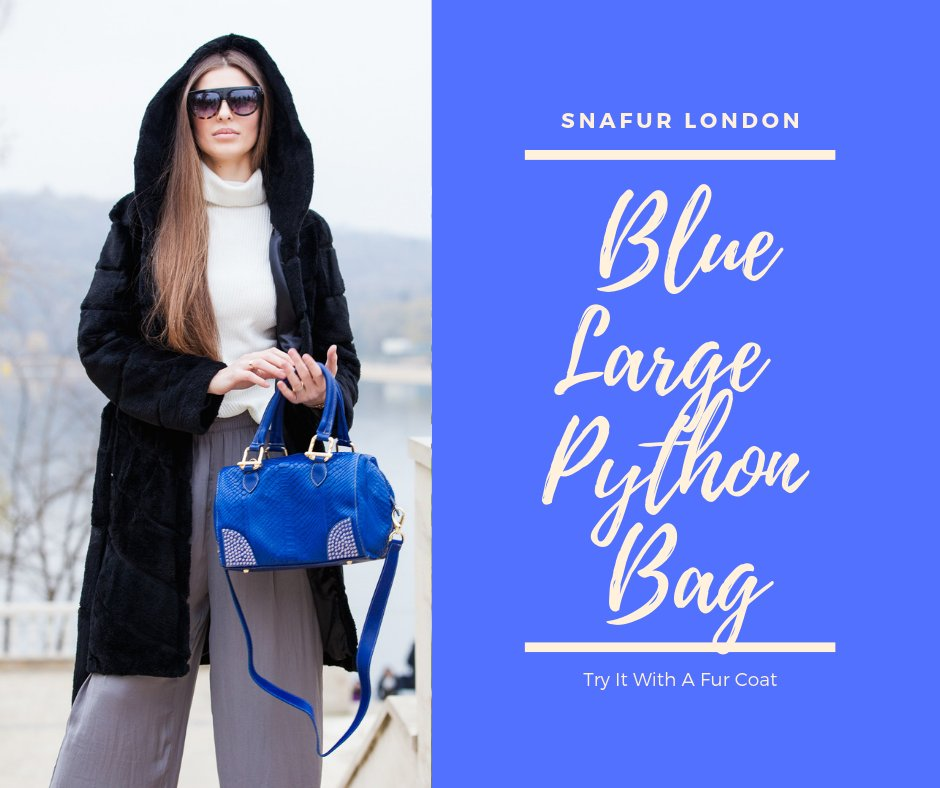 This blue large branded python bag in blue is a great fashion accessory for you! Try it with a fur coat from our store. https://bit.ly/2ByiPnx  #pythonbag #ladiesbag #fashionbag #brandedbags #londonpic.twitter.com/IFAlJem68f