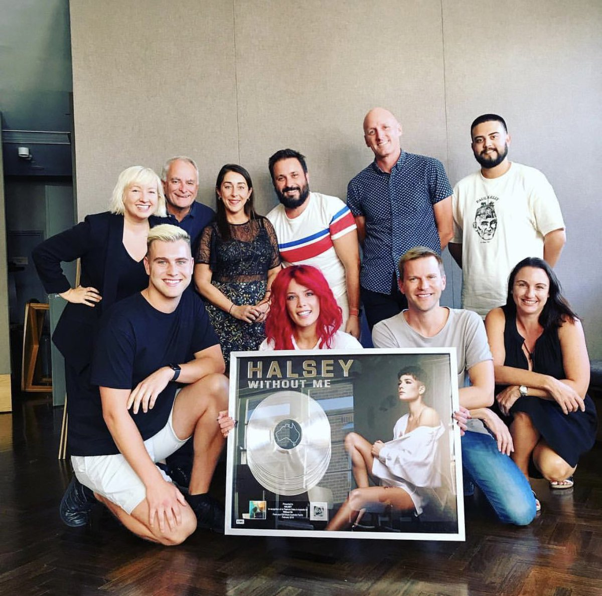 Today we got to present @halsey with a 4x Platinum plaque for #WithoutMe, congratulations!