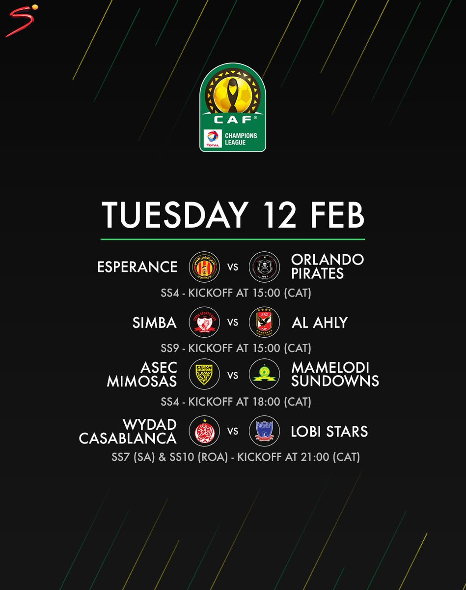 We bring you  4⃣  LIVE CAF Champions League matches today 🇿🇦 🇪🇬 🇹🇳 🇨🇮 🇹🇿 🇲🇦 🇳🇬 #CAFCL