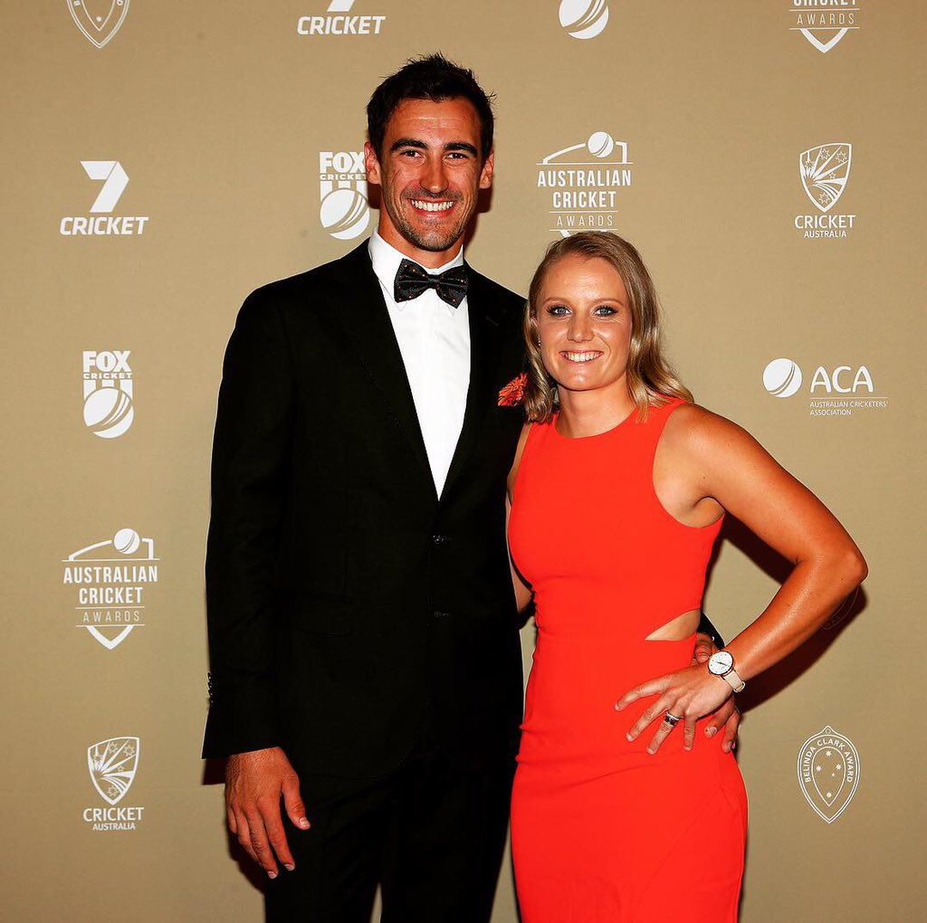 Picture 1. Mitch and I doing our best model poses while my feet were still fresh in the heels.....  Picture 2. Dreams do come true! Thank you everybody!   #AusCricketAwards <br>http://pic.twitter.com/5G3LKnJfZQ