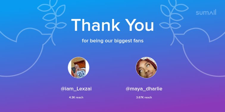 Our biggest fans this week: @iam_Lexzai, @maya_dharlie. Thank you! via sumall.com/thankyou?utm_s…