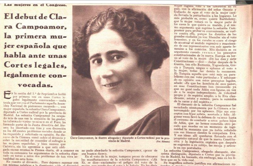 #TalDiaComoHoy (1888) nacía Clara Campoamor, una de las principales defensoras del sufragio femenino en España