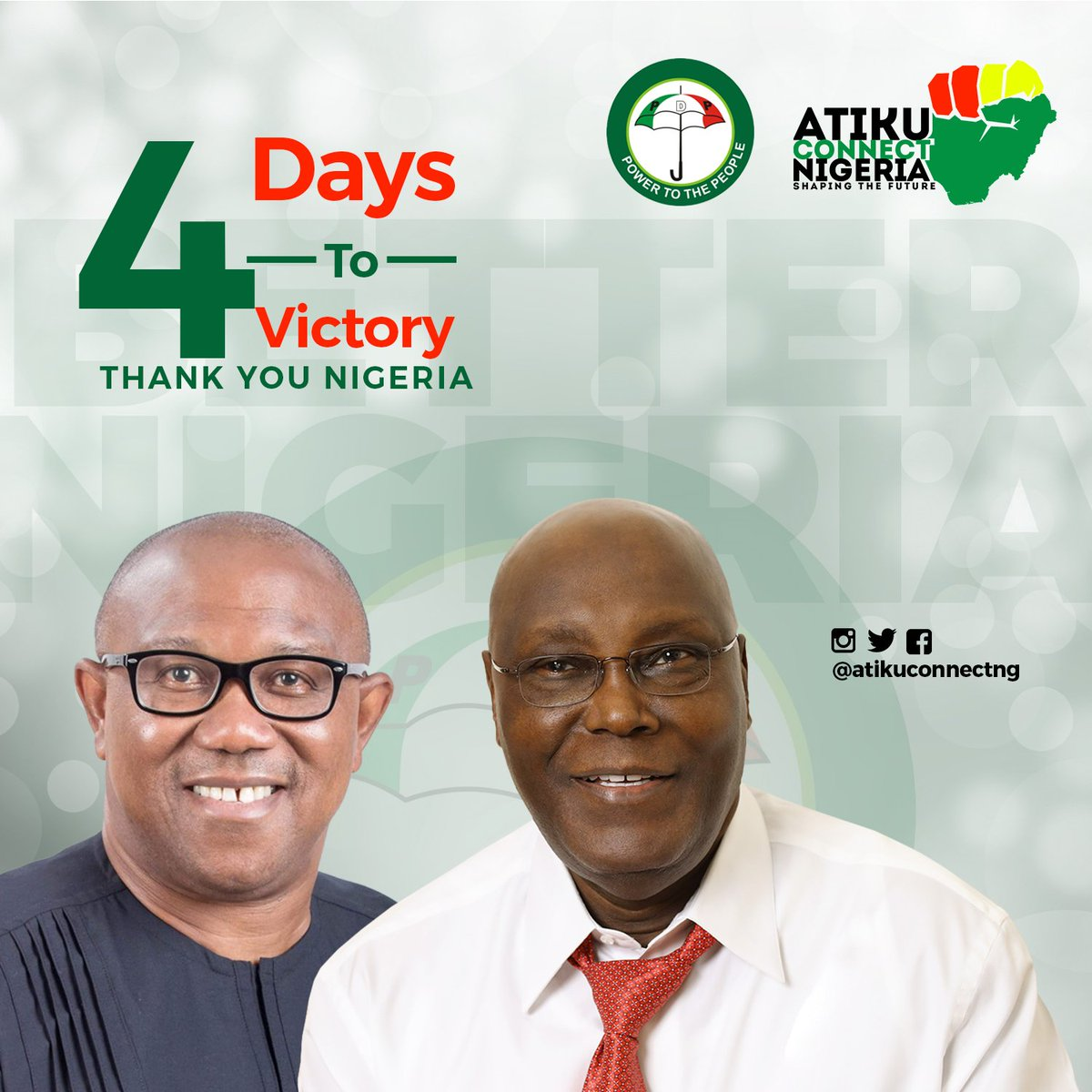 Its Just 4days to Vote to Victory for all Nigerians. 4days to proclaim to a #BetterNigeria #AtikuObi2019 #Votepdp #AtikuConnect @atiku @SpokesManAtiku<br>http://pic.twitter.com/Cebl1H1hI2