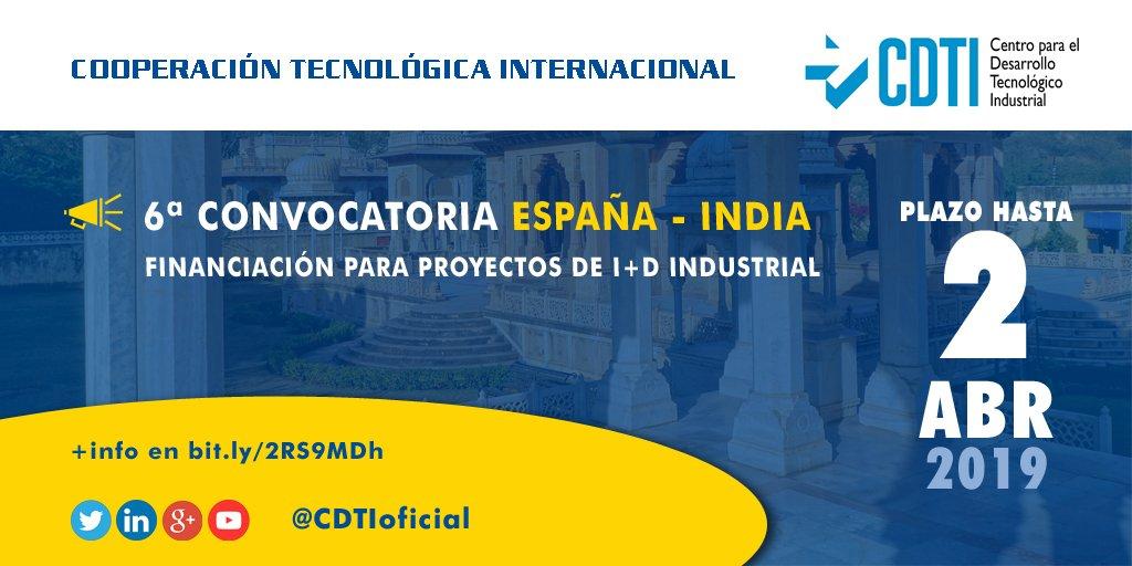 🇪🇸🇮🇳 Hoy se abre el plazo de solicitud de la 6ª llamada España-India para la financiación de proyectos bilaterales de investigación y desarrollo.  🗓️ Hasta el 2 de abril ➡️ https://bit.ly/2GoX3qg
