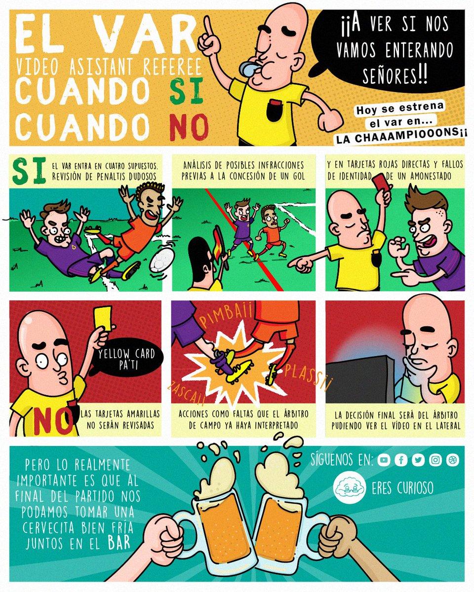 ⚽ Hoy el VAR se estrena en #Champions justo al finalizar una de sus jornadas más polémicas en @LaLiga. Aficionados lo reclaman en cualquier momento y jugadores recibirán tarjeta amarilla si lo hacen. ¿Sabemos realmente cuándo puede intervenir?   #ilustración #deporte #fútbol