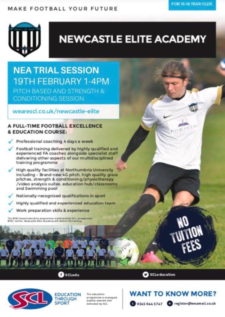 Are you a talented footballer wanting to maximise your potential? Aged 16 or 17? Looking to pursue a career in sport? NEA's fulltime Football Btec programme is for you⚽ Open taster session: 📅19th Feb ⏰1-4pm 🛣Coachlane Campus Signup⬇ wearescl.co.uk/newcastle-elite @SCLeducation