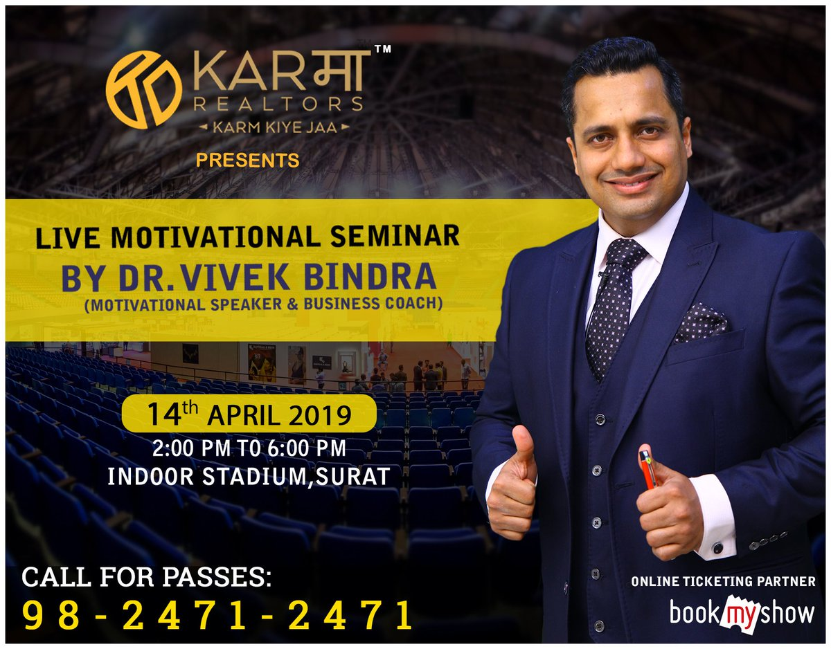 Surat Get Ready To Bounce Back! Live Motivational Seminar in Surat With Dr. Vivek Bindra To Reserve Your Seat Call 9824712471