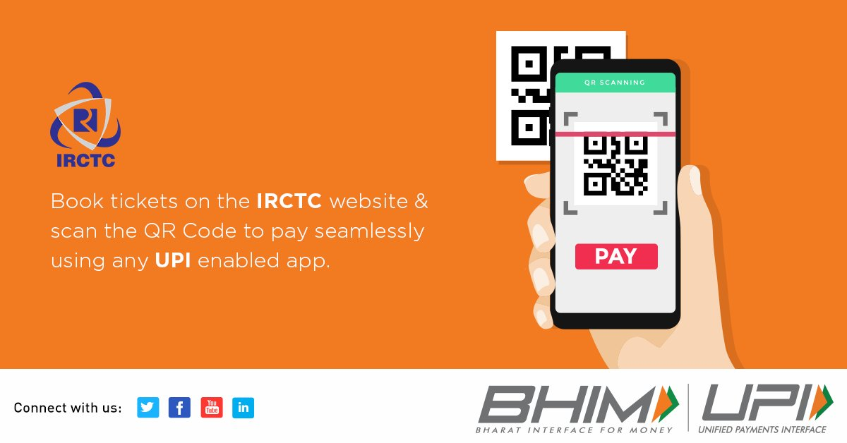 Book tickets on @IRCTCofficial and checkout faster than ever, by paying through any one of the UPI-enabled apps.  #BHIMUPI #BHIM #UPI #DigitalPayments @RailMinIndia