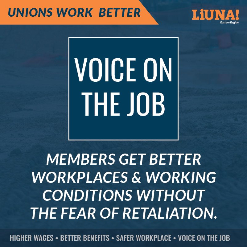 Want a #stronger #voice on the job? Join a #Union!  Union members get better workplaces & #working conditions WITHOUT the fear of retaliation.  For higher wages, better benefits, safer workplaces, and a voice on the job...  UNIONS 👏 WORK 👏 BETTER 👏  #LIUNA #UnionStrong #1u
