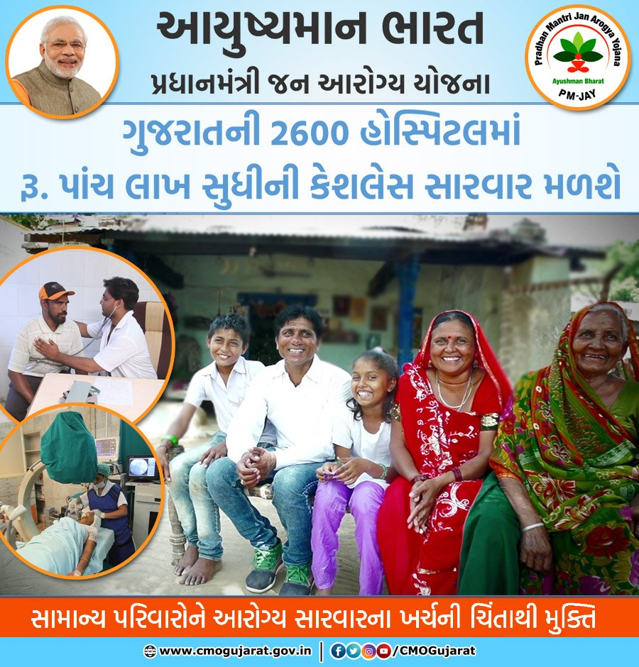 #PMJAY provides annual hospitalisation benefitsof upto Rs.5-lakh to economically weaker beneficiaries in 2600 empanelled hospitals across Gujarat, relieving the poor and needy people from the burden of unbearable medical expenses #AyushmanBharat