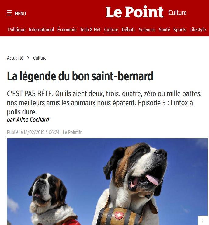 [#articledujour] Vous pensiez tout connaître du chien #barry, le bon Saint-Bernard #suisse  ? #LaurentTestot et #AlineCochard nous éclairent sur sa véritable #histoire ! @LePoint @histoire_monde #homocanis #Chien  https://www.lepoint.fr/culture/la-legende-du-bon-saint-bernard-12-02-2019-2292627_3.php…