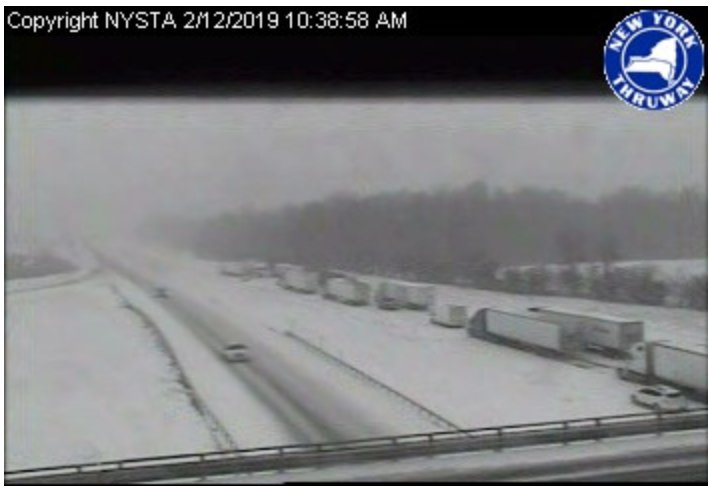 ALL LANES BLOCKED: Crash involving tractor-trailer snarls NYS Thruway near Exit 41